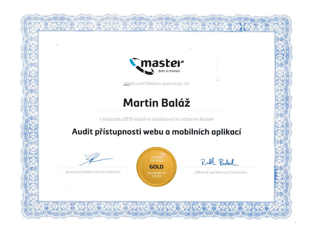 Certifikát Master Internet - Martin Baláž