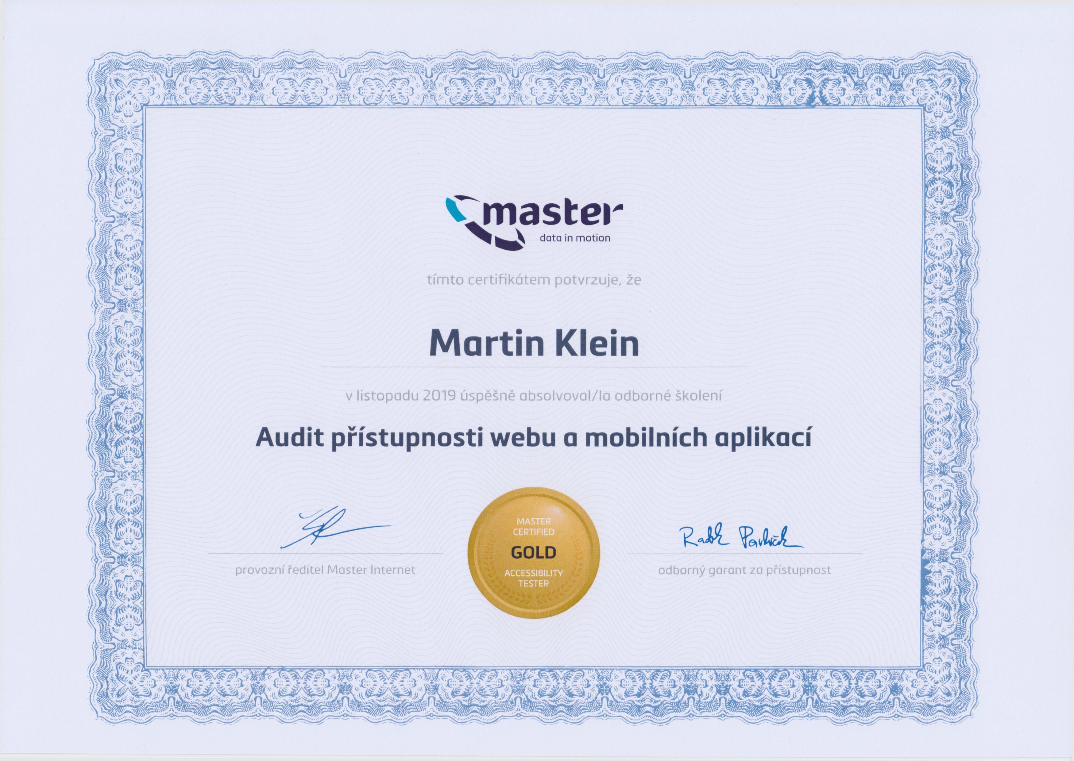Certifikát Master Internet - Martin Klein