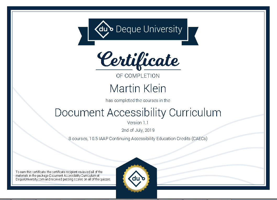 Certificate of completion - Document Accessibility Curriculum 1.1