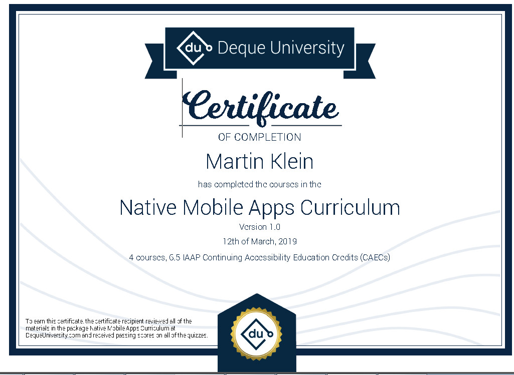Certificate of completion - Native Mobile Apps Curriculum 1.0