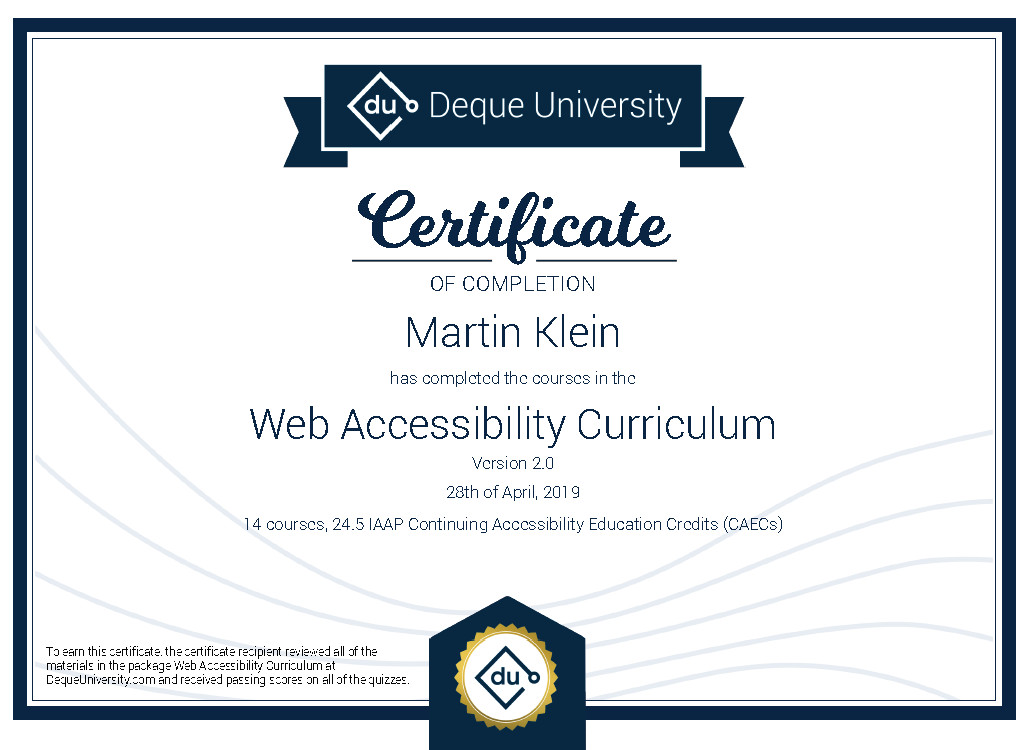 Certificate of completion - Web Accessibility Curriculum 2.0
