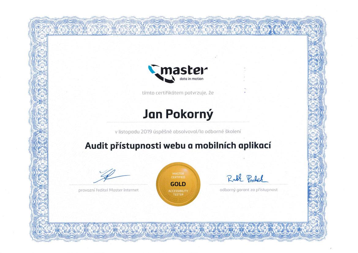 Certifikát Master Internet - Jan Pokorný